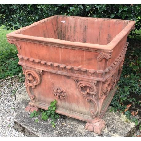 jardini re carr e en terre cuite et fibre de verre moinat sa antiquit s d coration. Black Bedroom Furniture Sets. Home Design Ideas