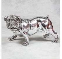 Bulldog en résine argenté, colier diamant - grand