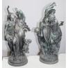 """Paire de statues en bronze """"Réjouissance"""""""