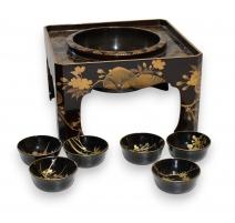 Support à Ikebana laque noir et or