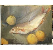 """Tableau """"Poisson et fruits"""" signé ANTONIETTI"""