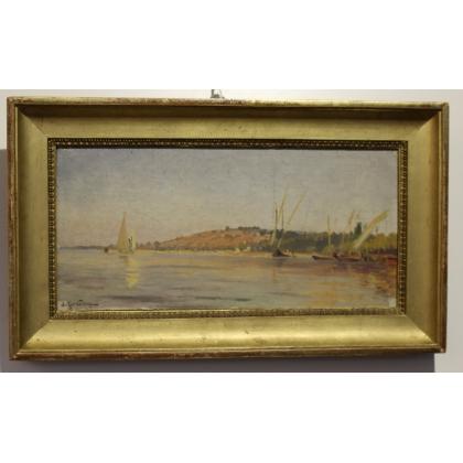 """Tableau """"Bord du lac"""" signé Arthur CALAME"""