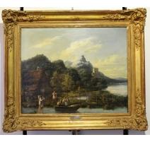 """Tableau """"Lac de montagne"""" attribué à J.J. CHALON"""