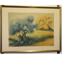 """Litho """"Paysage de Provence"""" signé ZAROU 163/195"""