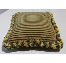 """Coussin """"Manoir"""" en soie rayée jaune et vert"""