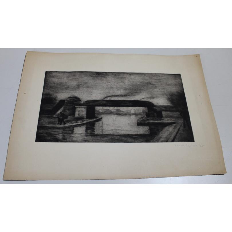 "Gravure ""Pont"" signée Casimir REYMOND 1/5"