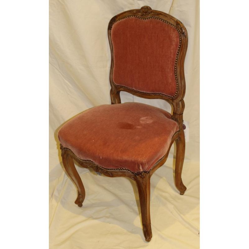 chaise louis xv recouverte de velours rose sur moinat sa antiquit s d coration. Black Bedroom Furniture Sets. Home Design Ideas