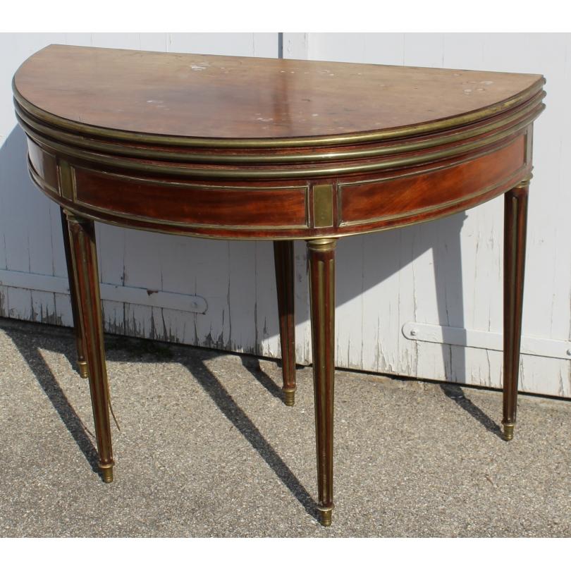Table demi-lune Louis XVIà trois plateaux