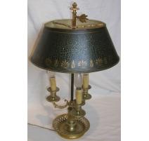 Lampe Bouillotte Louis XVI, abat-jour vert et or