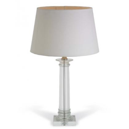 """Lampe """"Delanna"""" en nickel et colonne en cristal"""