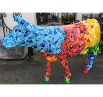 Vache motif multicolor triangulaire