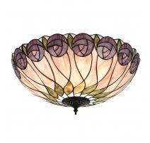 "Plafonnier ""Hutchinson"" style Tiffany décor roses"