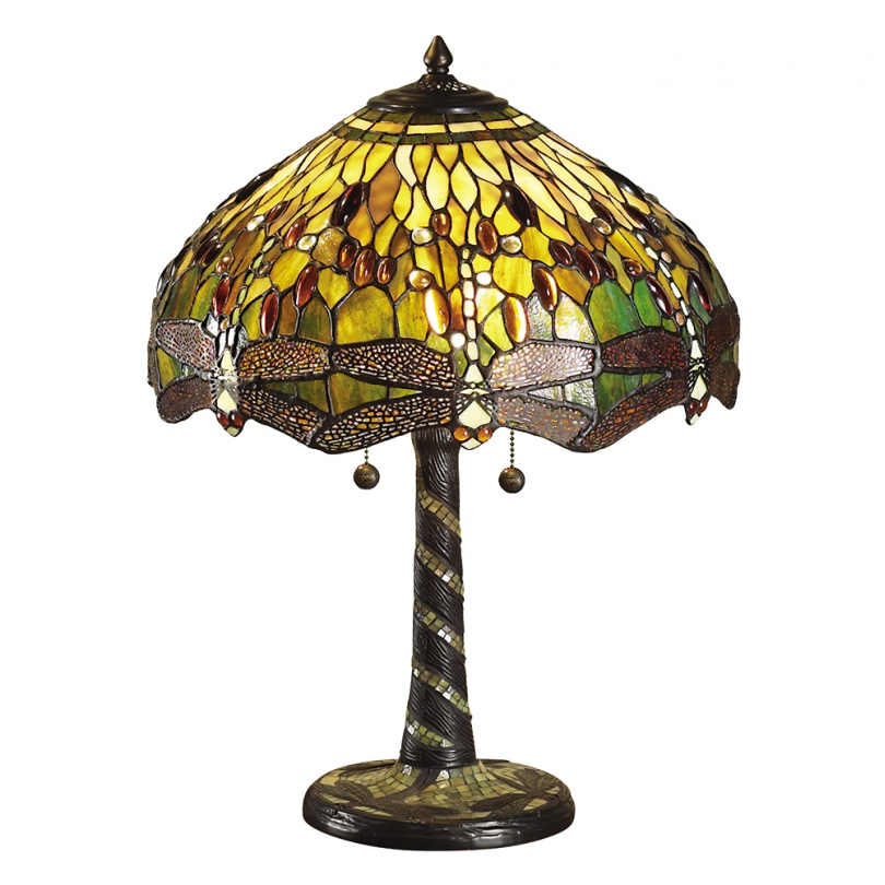 "Lampe ""Libellules vertes"" style Tiffany"