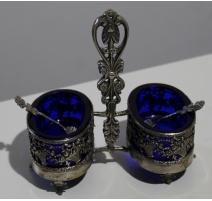 Salière double en argent et métal argenté