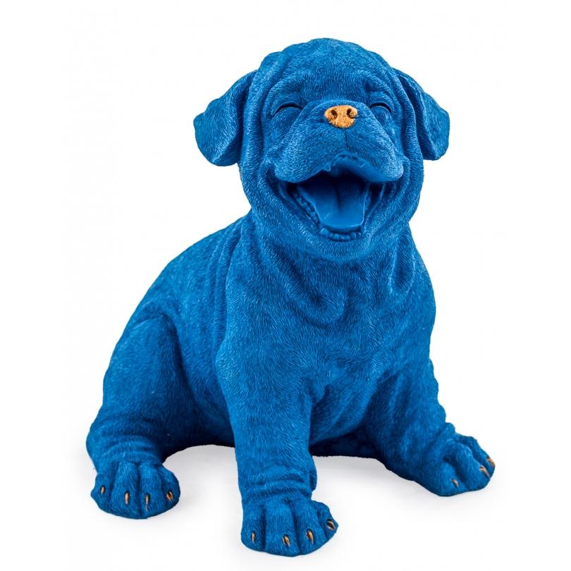 Chiot riant en résine bleue et doré