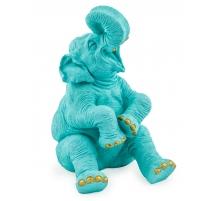 Elephant riant en résine bleue et doré