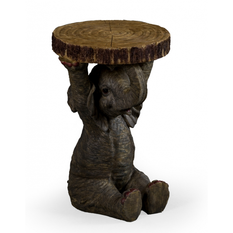 """Guéridon """"Eléphant portant un rondin de bois"""""""
