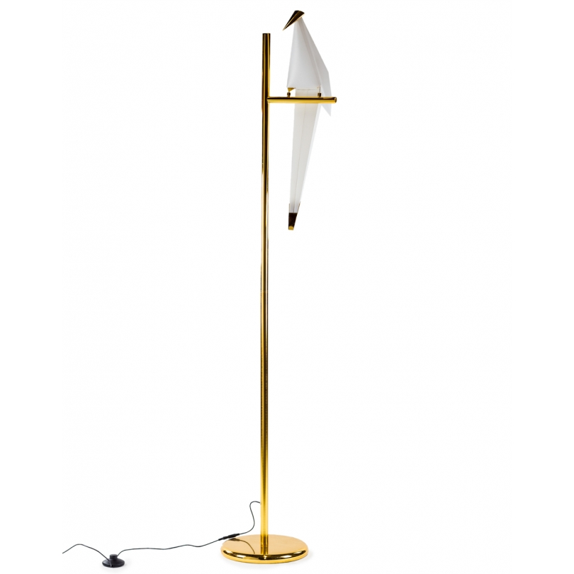 Lampe perchoir doré avec oiseau éclairé