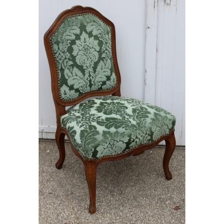 Chaise Louis XV Recouvert De Velours Gauffr Vert