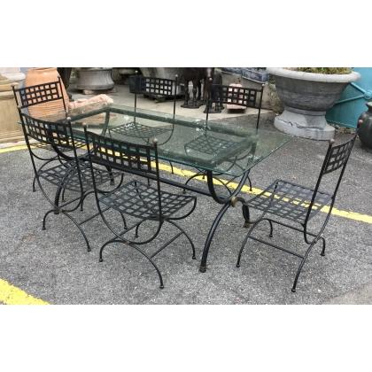 Ensemble de jardin table et 6 chaises fer forgé