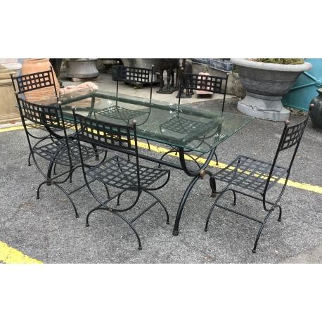 Ensemble de jardin table et 6 chaises fer forgé - Moinat SA - Antiquités  décoration