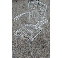 Fauteuil de jardin en fer forgé blanc