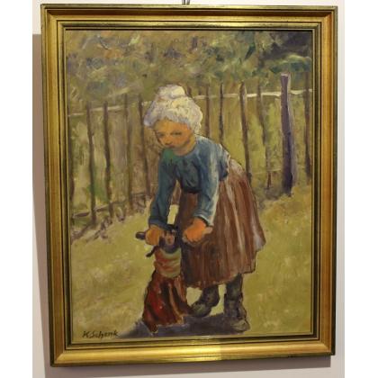 """Tableau """"Enfant à la poupée"""" signé K. SCHENK"""
