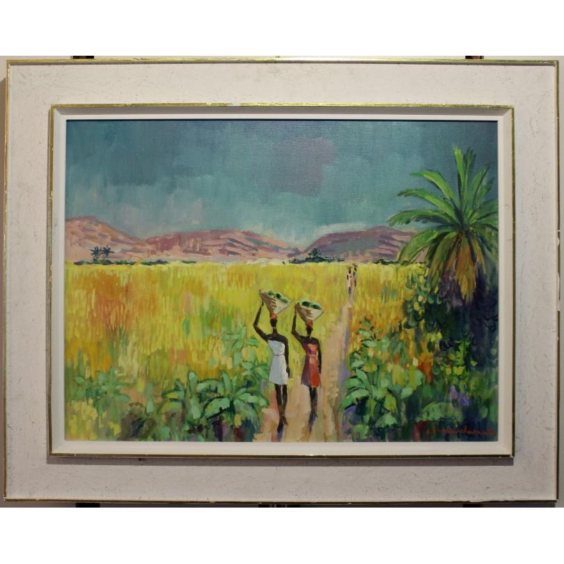 "Tableau ""Paysage Haïtien"" signé A. NEUENSCHWANDER"