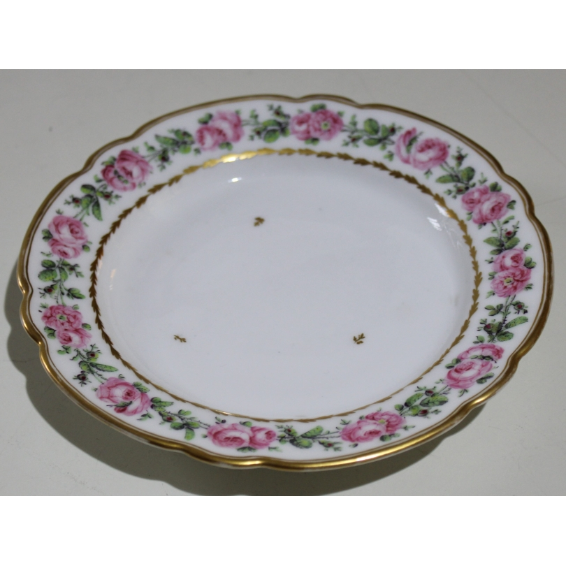 """Assiette à dessert en porcelaine de Nyon """"Roses"""""""