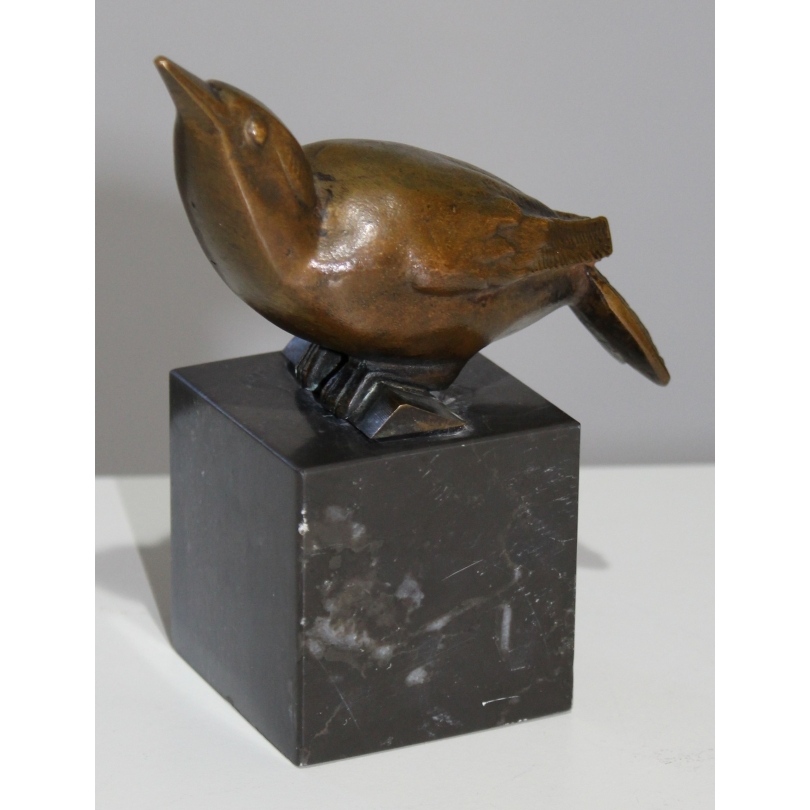Sittelle en bronze monogrammée CR