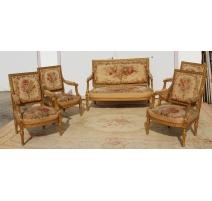 Salon style Louis XVI doré, tapisserie Aubusson