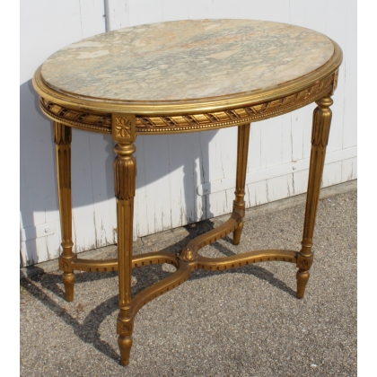 Guéridon ovale style Louis XVI doré, dessus marbre