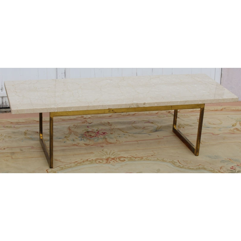Table basse rectangulaire en laiton et marbre