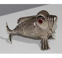 Salière poisson articulé en argent espagnol