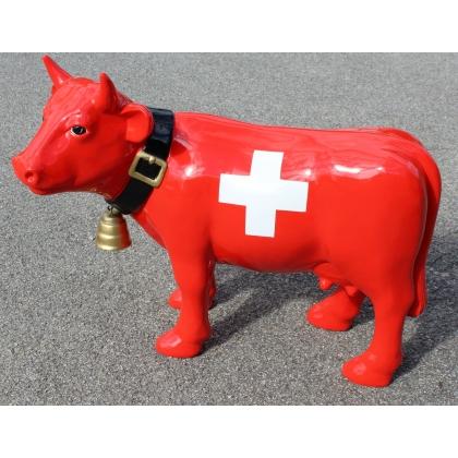 """Vache en résine """"Drapeau Suisse"""""""