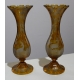 Paire de vases en verre jaune de bohème gravé