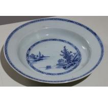 Assiette creuse en porcelaine bleu blanc