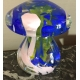 Champignon en verre de Murano vert bleu et rose