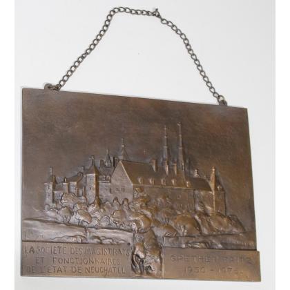 """Plaque """"Neuchatel"""" en bronze signé C. REUSSNER"""