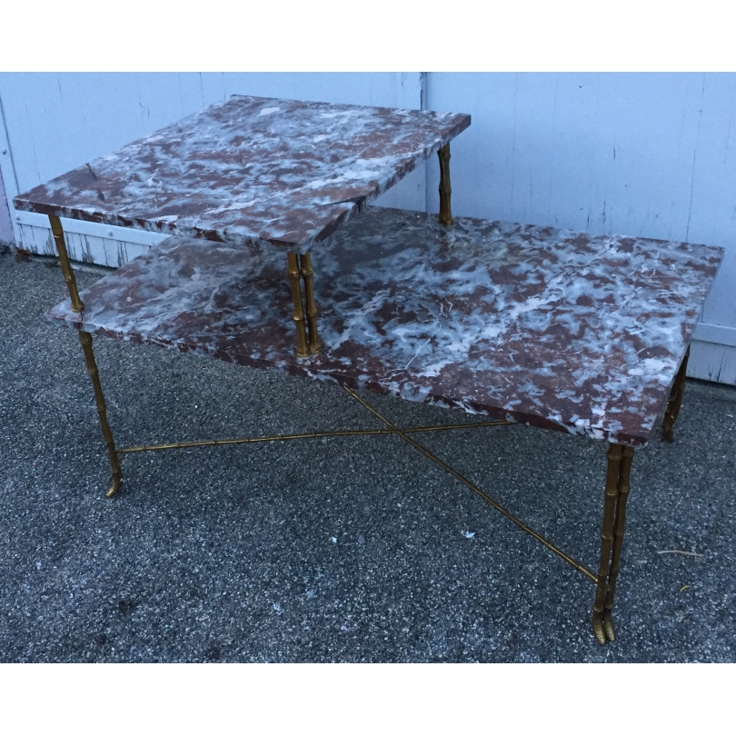 Table basse à 2 plateaux en marbre par BAGUÈS