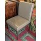 Chaise en cuir gris, armature en bois laqué gris