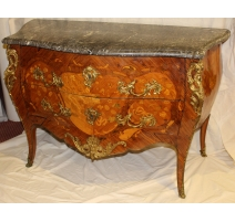 Commode Louis XV galbée à 2 tiroirs