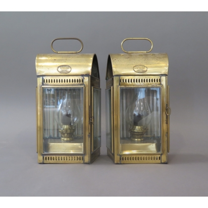 Paire de lanternes de bateau de pompier DAVEY & Co