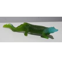 Crocodile en pâte de verre teintée signé DAUM