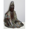 Kannon assise en bronze cloisonné