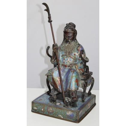 Sage assis sur son trône en bronze cloisonné