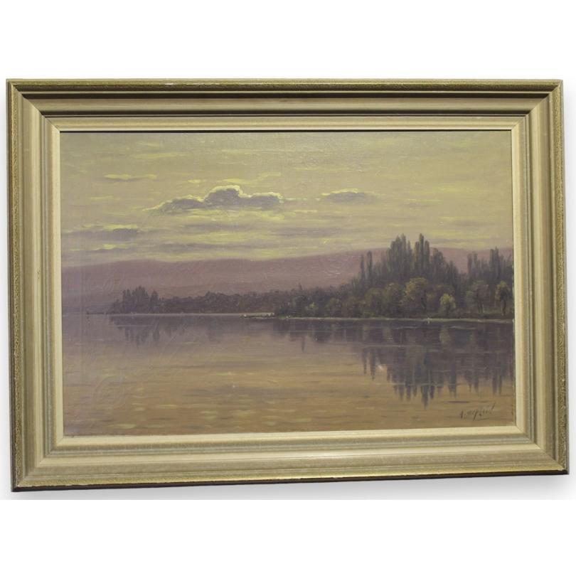 """Tableau """"Bord du lac à St.Prex"""" signé A. DUPLAIN"""