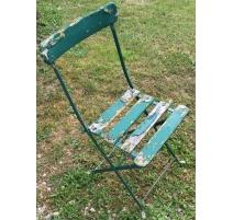Série de 6 chaises en fer forgé vert