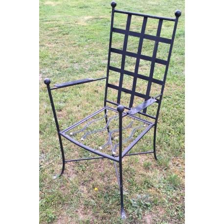 Fauteuil de jardin en fer forgé noir - Moinat SA - Antiquités décoration