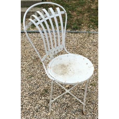 Chaise de jardin en fer forgé blanc - Moinat SA - Antiquités décoration
